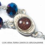 Rosario con perline di cristallo blu scuro Crocifisso e Terra Santa da Jerusalemme.